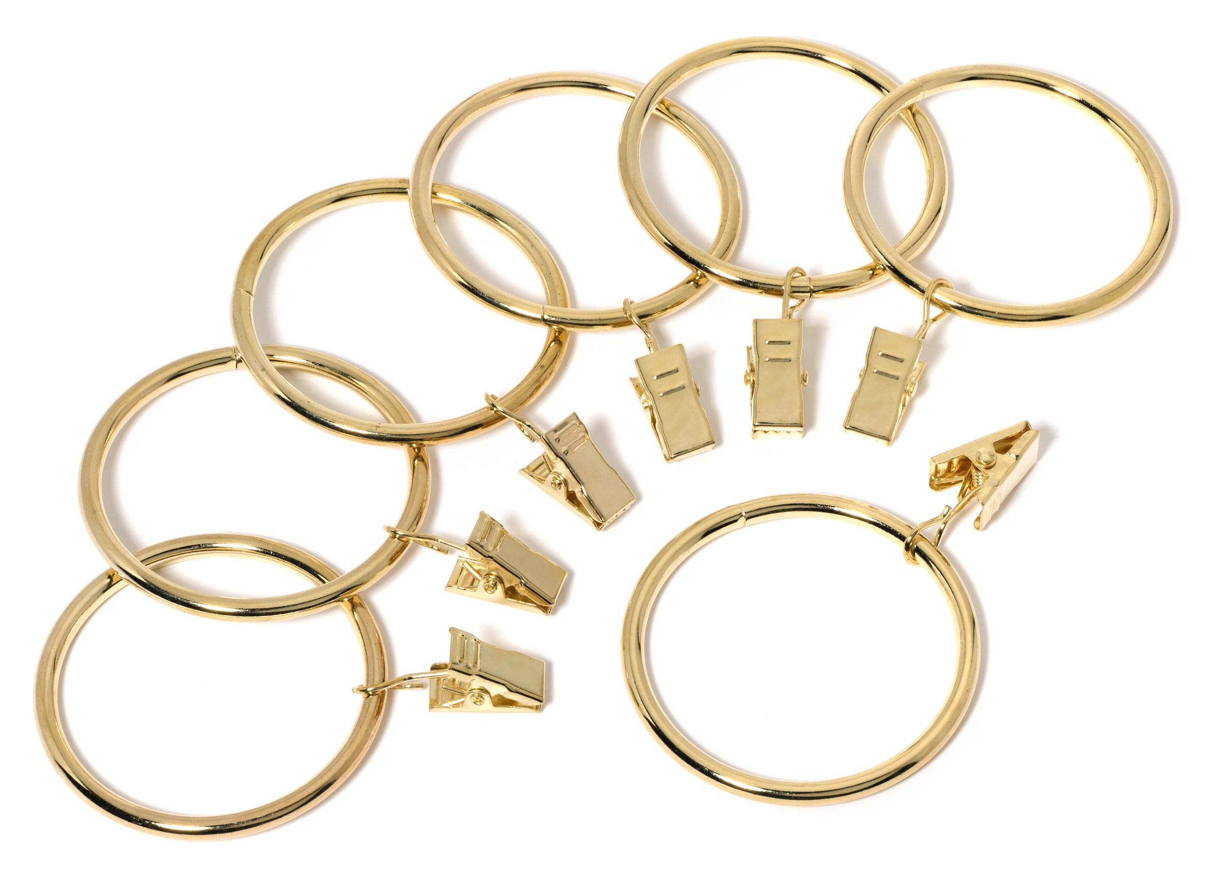Perfect Order Iron Metal Curtain Clip Rings 2 Inch Interior Diameter (20, Gold)