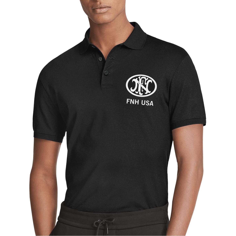QUNTOYR Men Short Sleeve Polo Tee Shirt FNH USA Fn Herstal Slim-Fit Ultra Comfy Assorted Tee Shirt