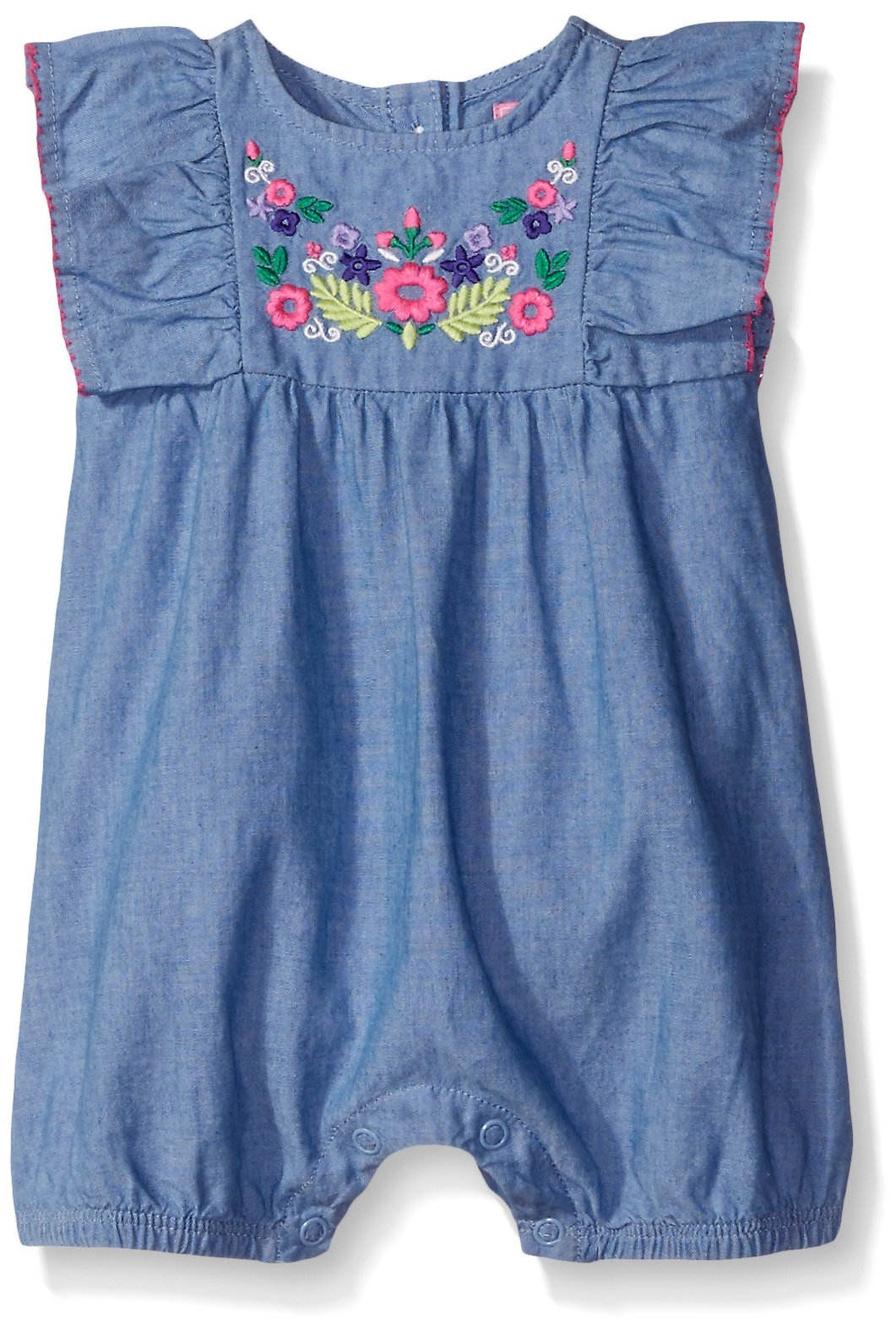 The Children's Place Baby Girls' Sleeveless Romper, Chambray 0887, 0-3 Months