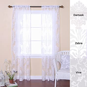 Amazon.com: Best Home Fashion Damask Burnout Sheer Curtains - Rod ...