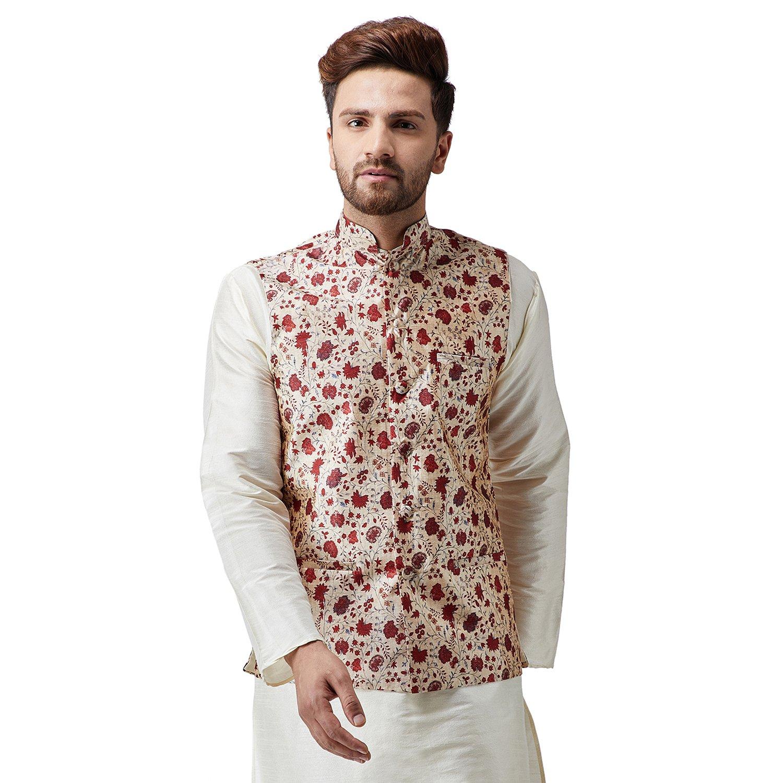 Sojanya (Since 1958), Men's Silk Printed ONLY NehruJacket