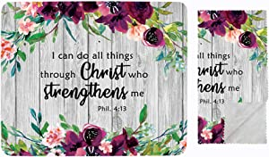 Bible Verse All Things Possible with Chris Mouse Pad. Colorful Cute Design with Non Slip Base. Matching Microfiber Cleaning Cloth for Eye Glasses & Electronics. Mouse Pad for Laptop & Travel