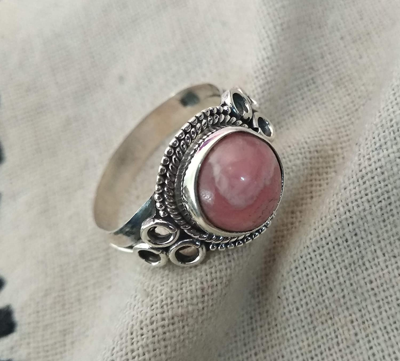 Bohemian 925 Sterling Silver Midi Natural Rhodochrosite Ring Beautiful Ring,Christmas Gift Designer Ring Natural Rhodochrosite Jewelry
