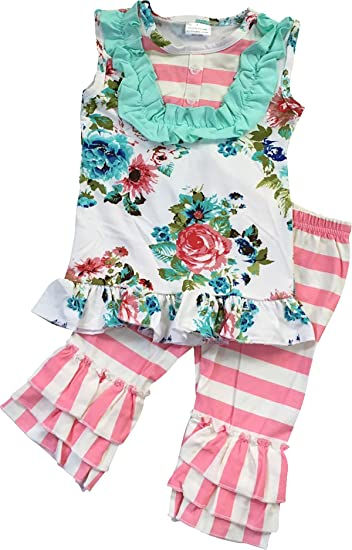 8194cc5d61 Toddler Girl Kids Stripe Floral Easter Tunic Ruffle Pants Set Off White 2T  XS 200609