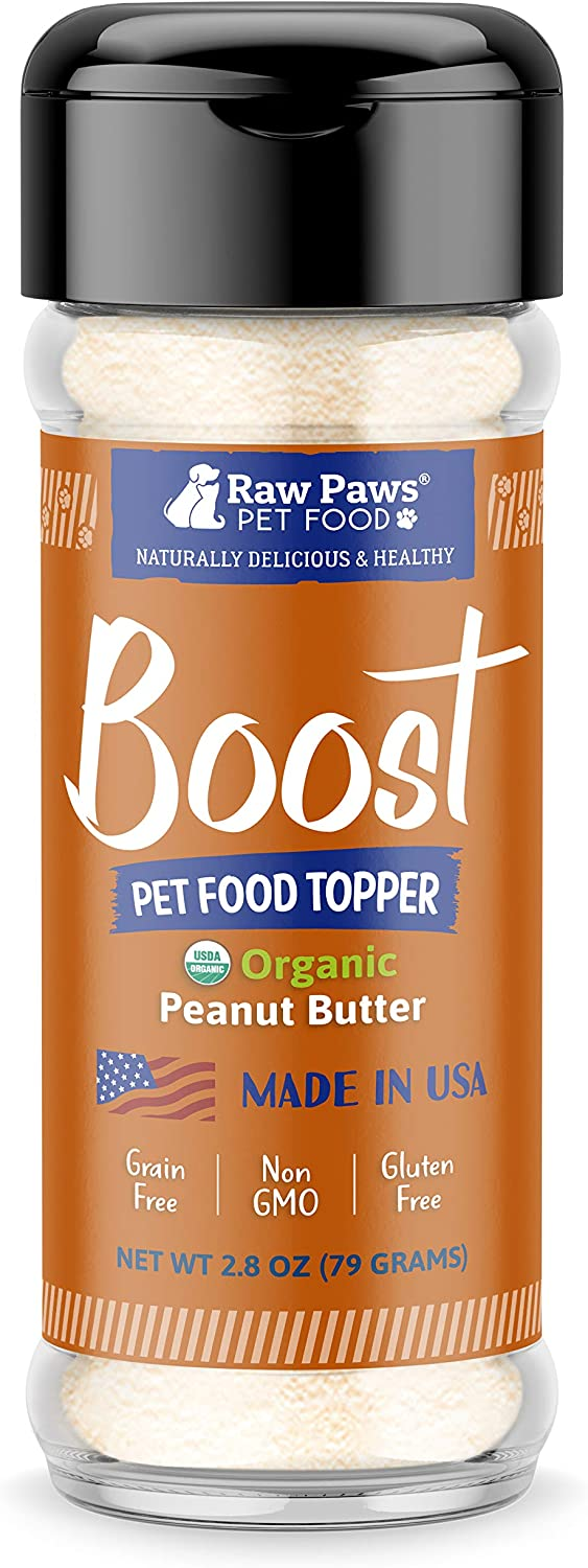 Raw Paws Boost Flavor & Nutrition Pet Food Topper, Organic Peanut Butter for Dogs & Cats, 3.2-oz - Made in USA - Peanut Butter Powder for Dogs - Peanut Butter Dog Food Flavoring - PB Pet Food Powder