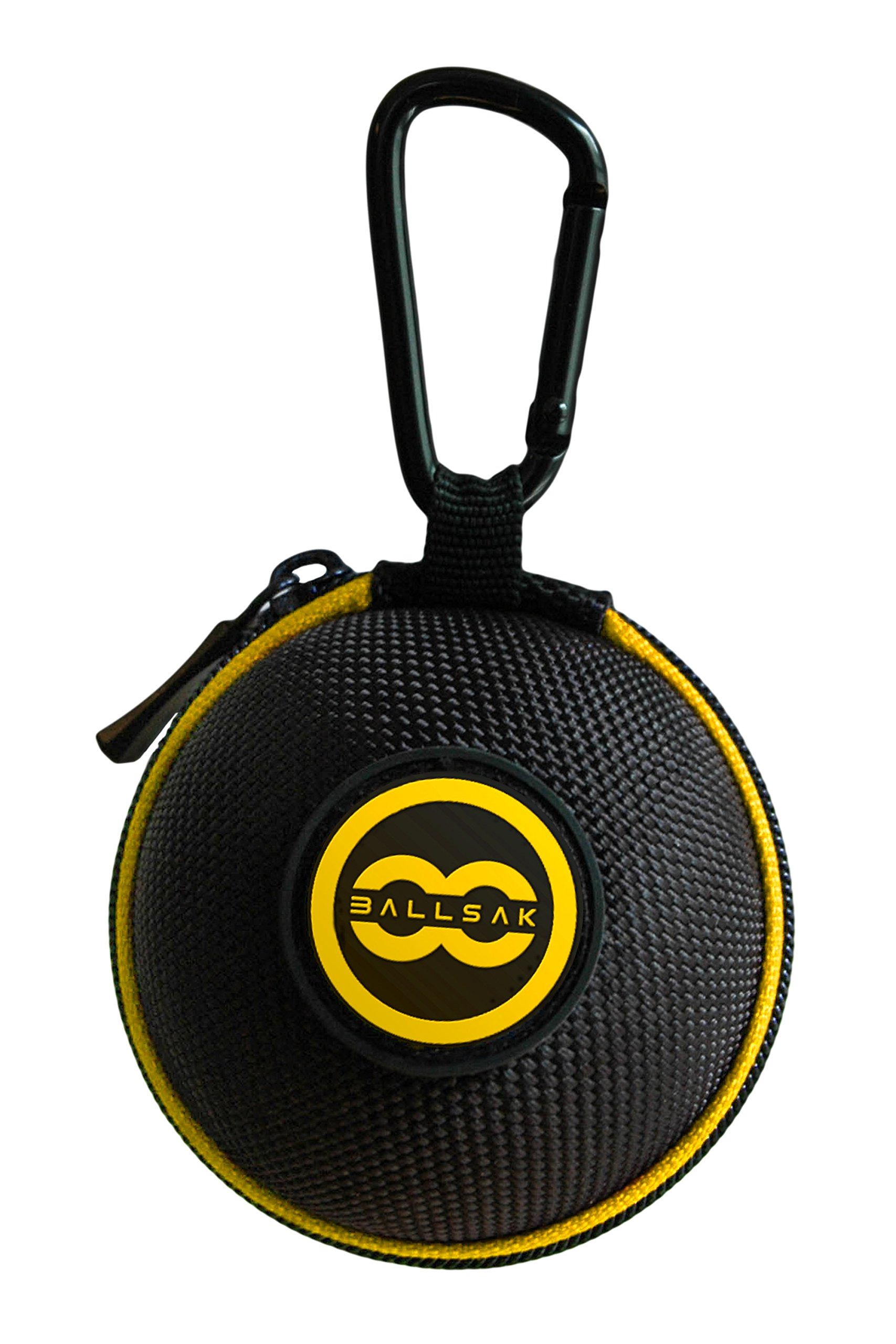 Ballsak Sport - Yellow/Black - Clip-on Cue Ball Case, Cue Ball Bag for Attaching Cue Balls, Pool Balls, Billiard Balls, Training Balls to Your Cue Stick Bag EXTRA STRONG STRAP DESIGN!