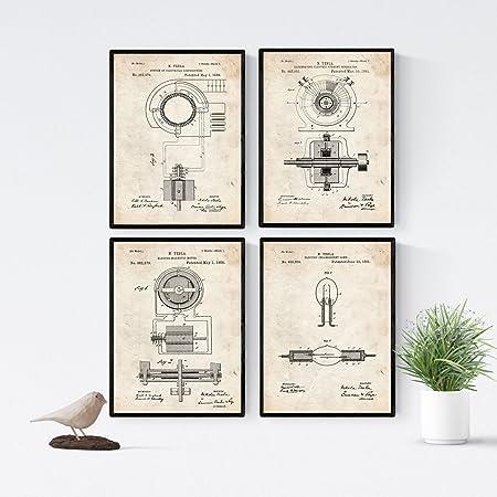 Nacnic Vintage - Pack de 4 Láminas con Patentes de Electricidad ...