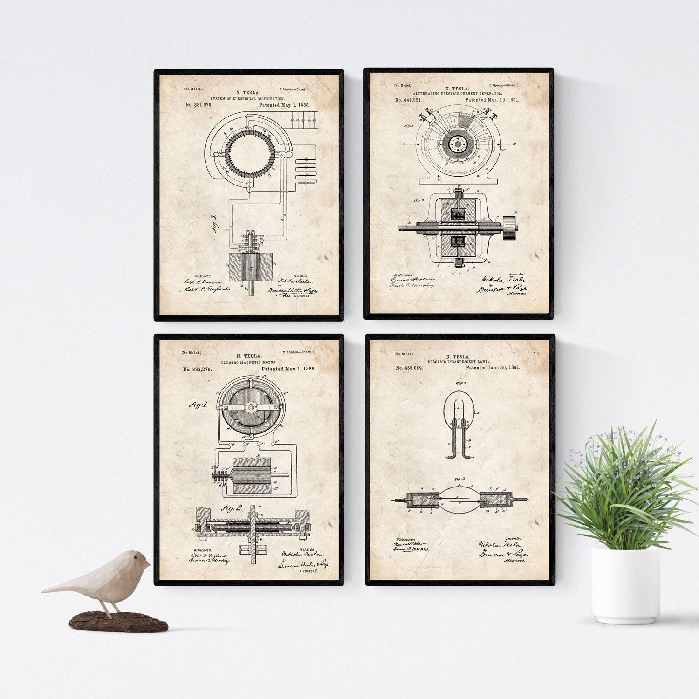 Nacnic Negro - Pack de 4 Láminas con Patentes de Electricidad. Set de Posters con inventos y Patentes Antiguas. Elije el Color Que Más te guste. ...