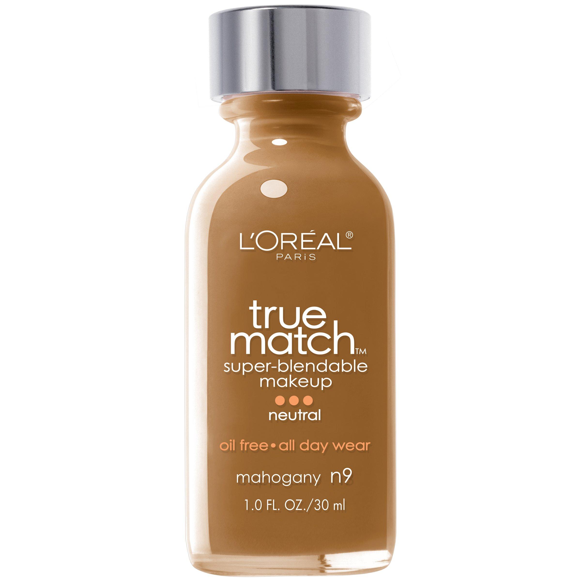 L'Oreal Paris Makeup True Match Super-Blendable Liquid Foundation, Mahogany N9, 1 Fl Oz,1 Count