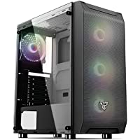 Fantech PC Gaming Computer Desktop Case Tempered Glass Side Panel ATX Tower with 4 x 120mm Fixed RGB Fan Pre-Installed…