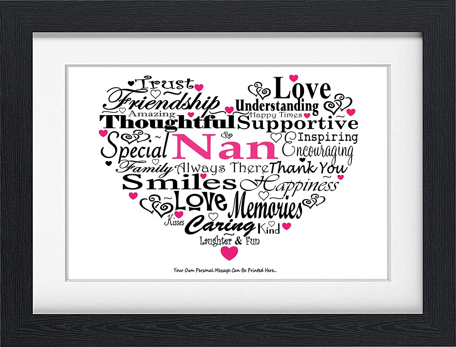 PERSONALISED MUM MUMMY MOTHER NAN NANNY NANA GRAN GRANNY GRANDMOTHER BIRTHDAY CHRISTMAS PRESENT TYPOGRAPHY WORD PRINT (NO FRAME) Word Art Gifts