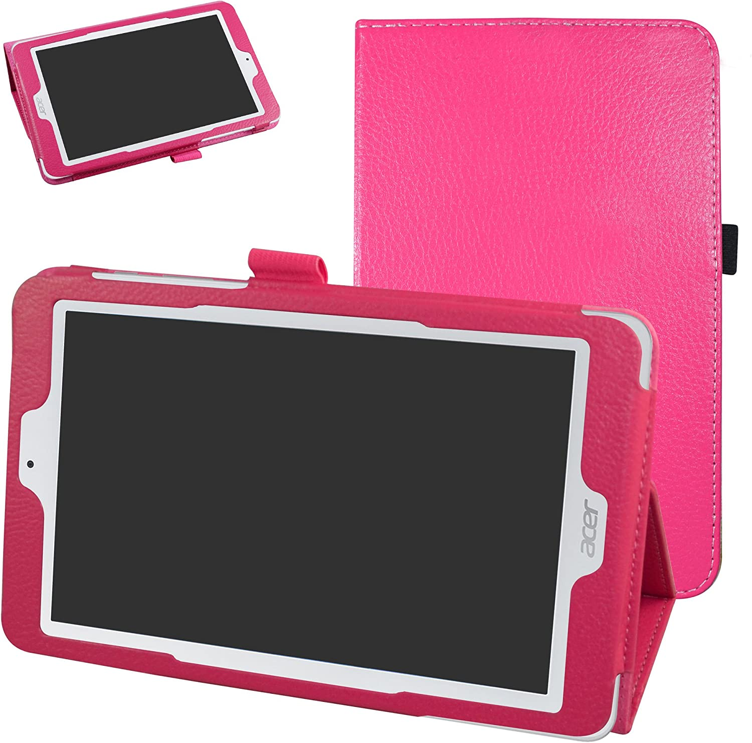 """Acer Iconia One 8 B1-850 Case,Mama Mouth PU Leather Folio 2-Folding Stand Cover with Stylus Holder for 8"""" Acer Iconia One 8 B1-850 Android Tablet,Rose Red"""
