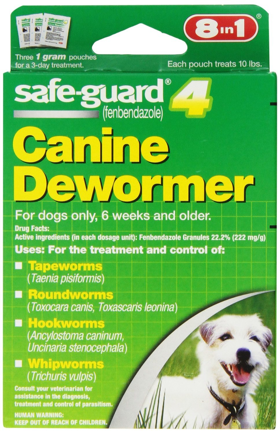 8in1 Safe Guard Canine DeWormer for Small Dogs, 1-Gram, New, Free Shipping