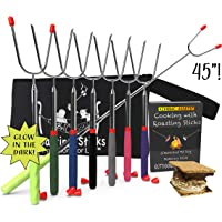 Marshmallow Roasting sticks - 45 inch Extendable Set of 8 S'mores skewers | Hot Dogs Sausage Vegetables and Kabobs | Telescoping Stainless Steel Cookware | Campfire Forks by KIKNBAC Assets
