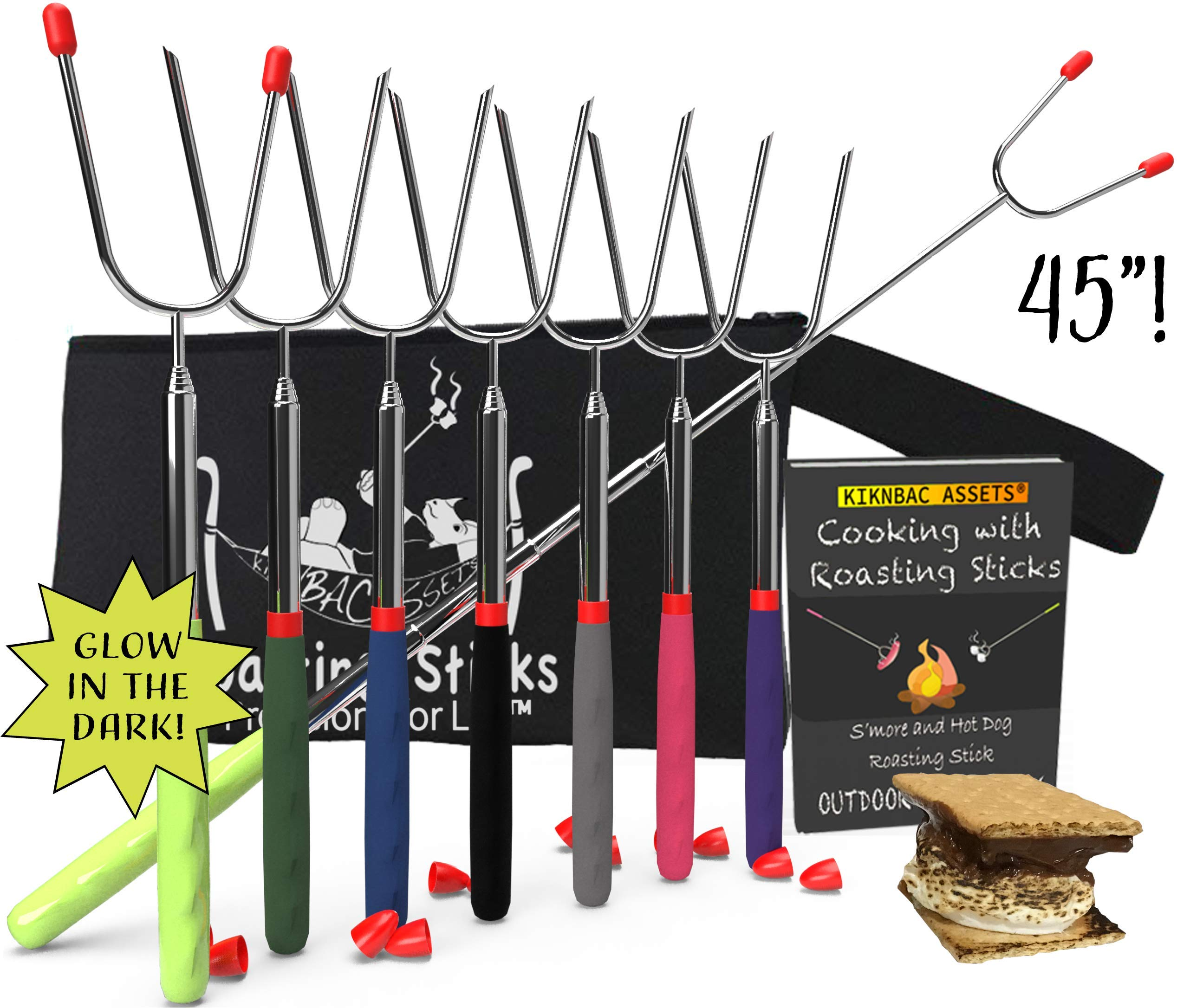 KBA Marshmallow Roasting Sticks 45'' Long | Set of 8 | Telescoping Smores Sticks for Fire Pit 6 Colors and 2 Glow in The Dark, Kids Camping Accessories Kit with E-Book for Campfire Cooking Fun by KBA