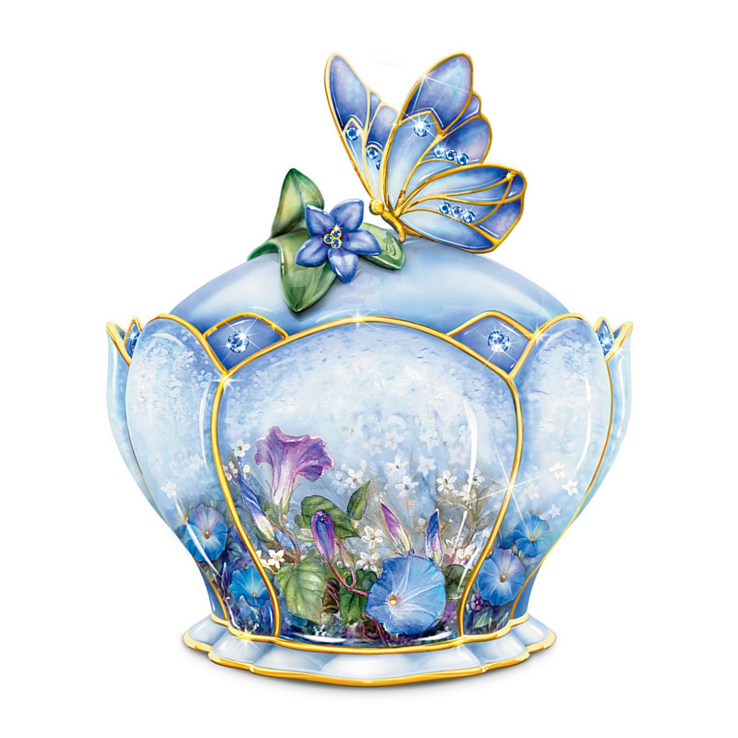 Butterfly Floral Art Heirloom Porcelain Music Box: Whispering Wings   B007SP3N36