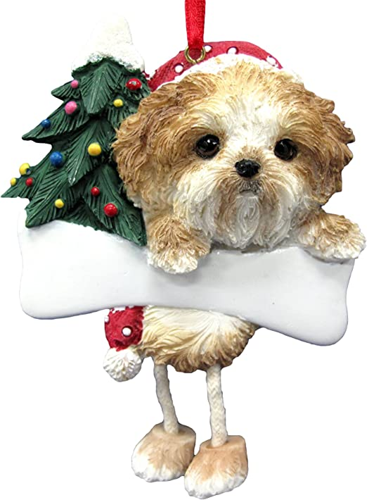 Amazon Com Shih Tzu Ornament Puppy Cut With Unique Dangling Legs Hand Painted And Easily Personalized Christmas Ornament Pet Supplies
