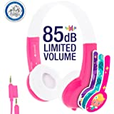 BuddyPhones Volume Limiting Kids Headphones | Durable, Comfortable & Customizable | Built in Headphone Splitter | Ideal for iPad, Kindle, Computers and Tablets | Pink