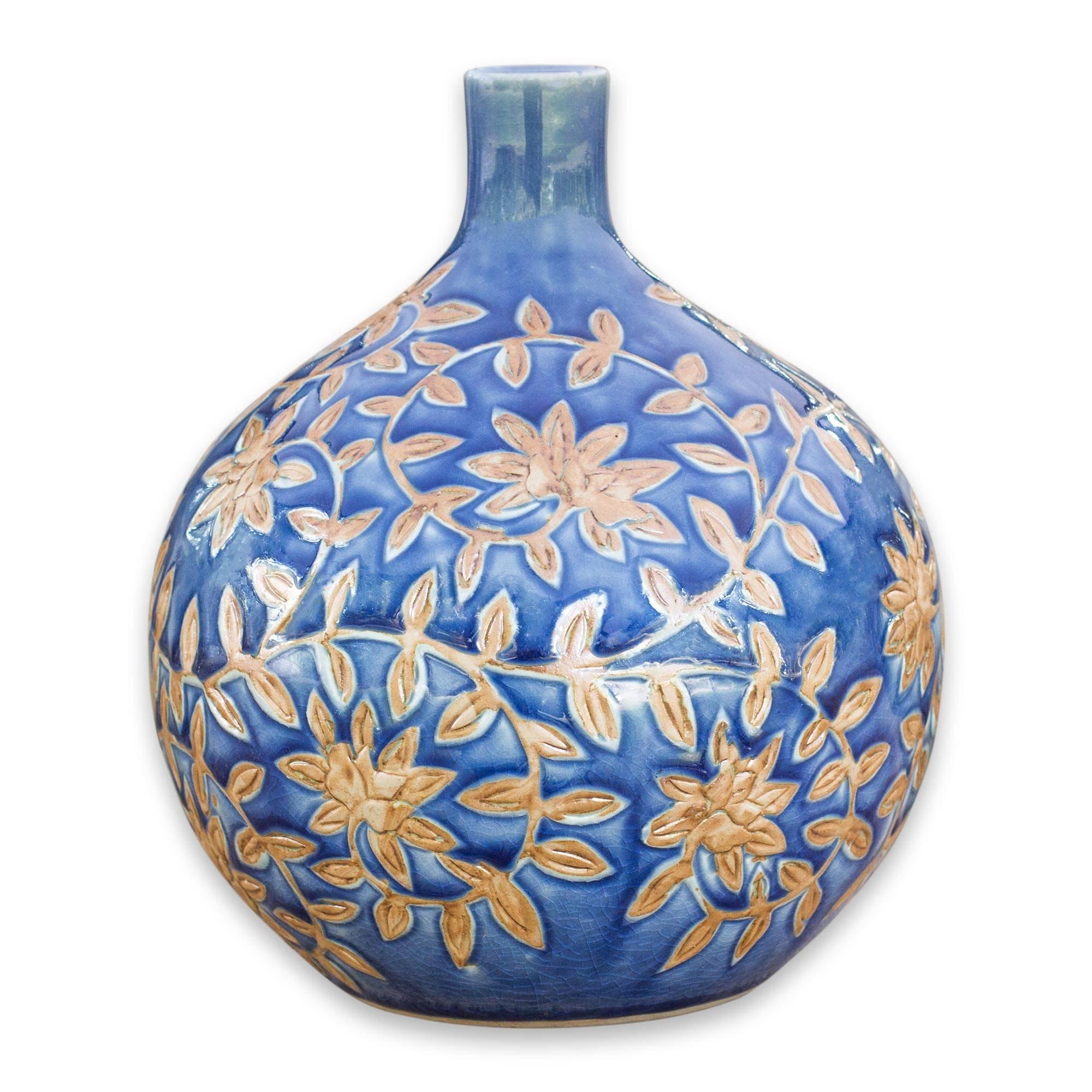 NOVICA Floral Ceramic Vase, Blue, 'Golden Jasmine'