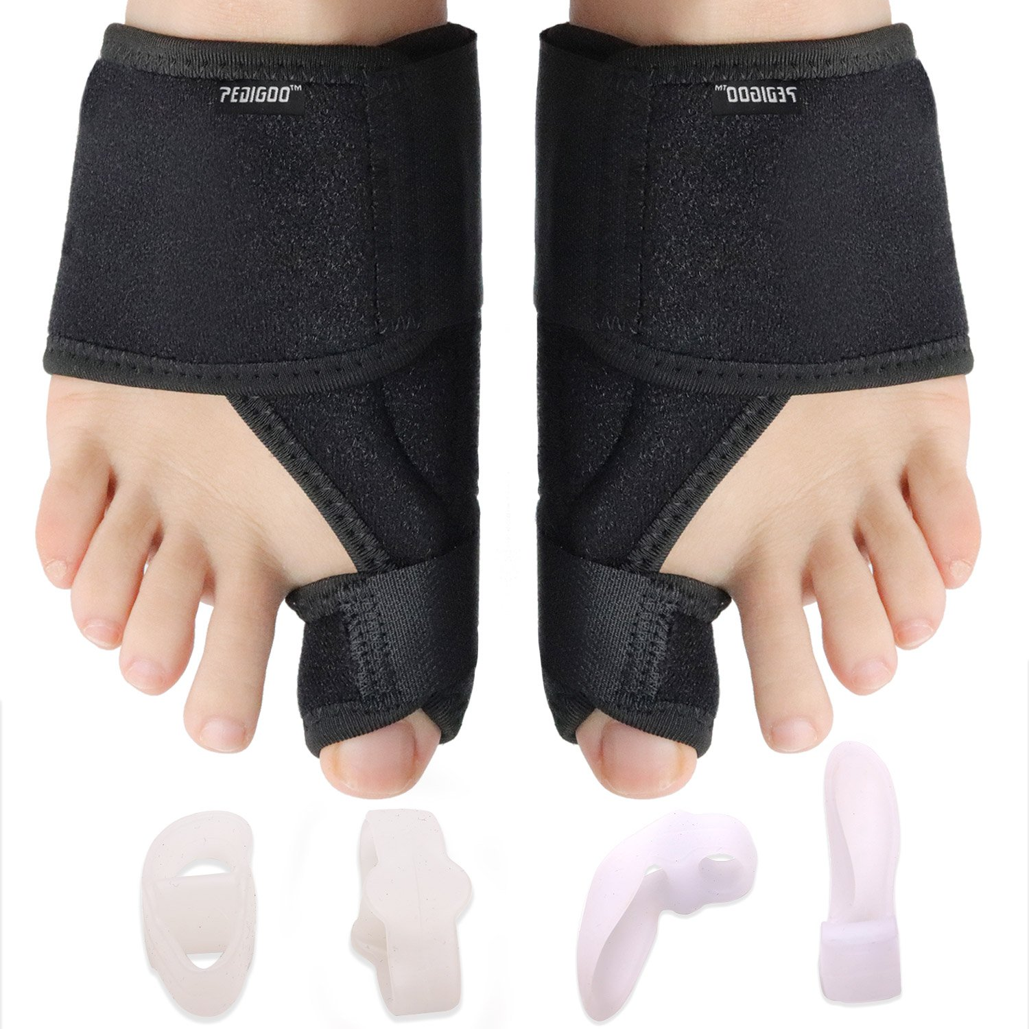 Bunion Corrector Bunion Relief Kit (Bunion Splints,Gel Toe Protect Separator Sleeves&Toe Separators) for Hallux Valgus-Day/Night Time Support for Men&Women (S-M (Size 4-7), Classic II)