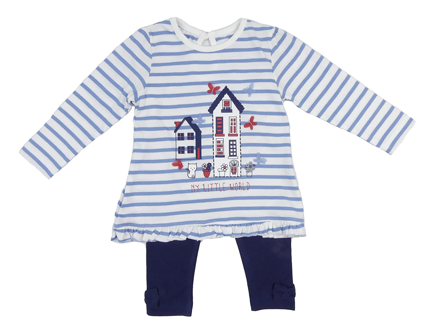 Ex-Store Baby Girls Outfit Leggings Long Sleeve Top Set Pretty House Kitty Butterflies Blues