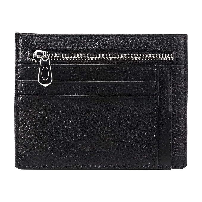 a643aa066415 Slim Minimalist Wallet Credit Card Holder Front Pocket RFID Blocking  Genuine Leather Wallets for Men or Women