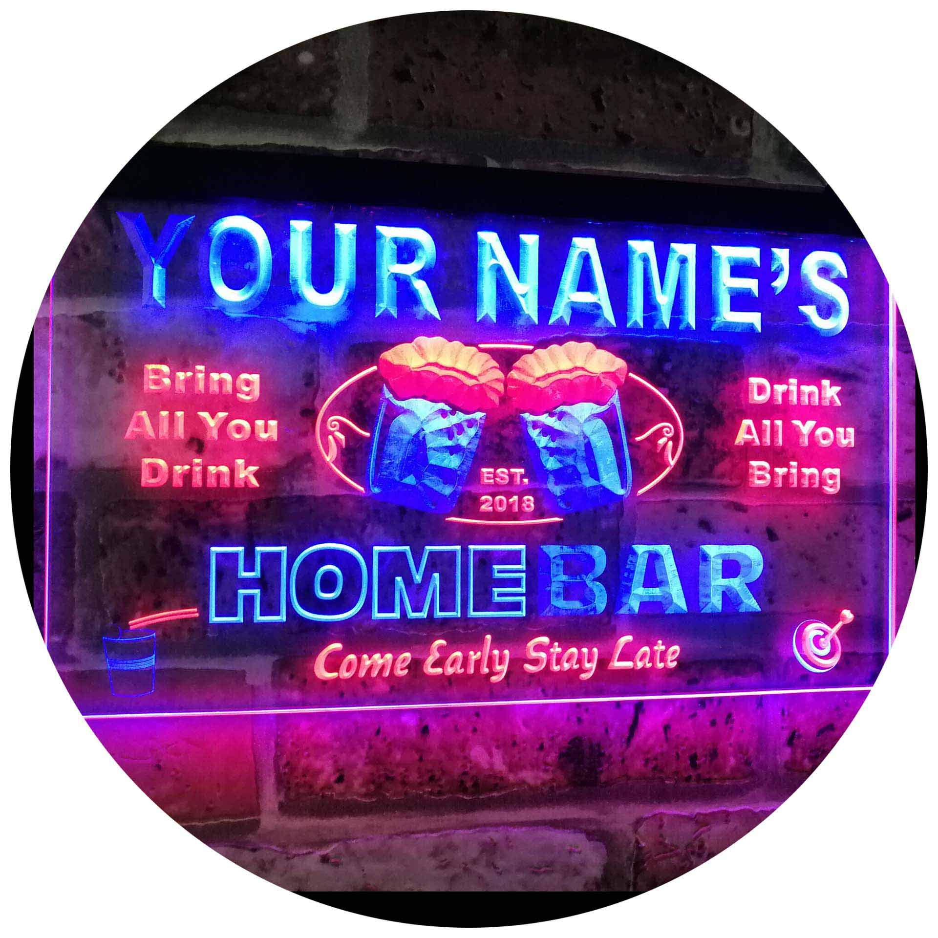 AdvpPro 2C Personalized Your Name Custom Home Bar Beer Est. Year Dual Color LED Neon Sign Red & Blue 12'' x 8.5'' st6s32-p-tm-rb