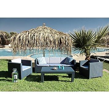 Concept-Usine Tropea: Salon de jardin 5 places effet résine tressée ...