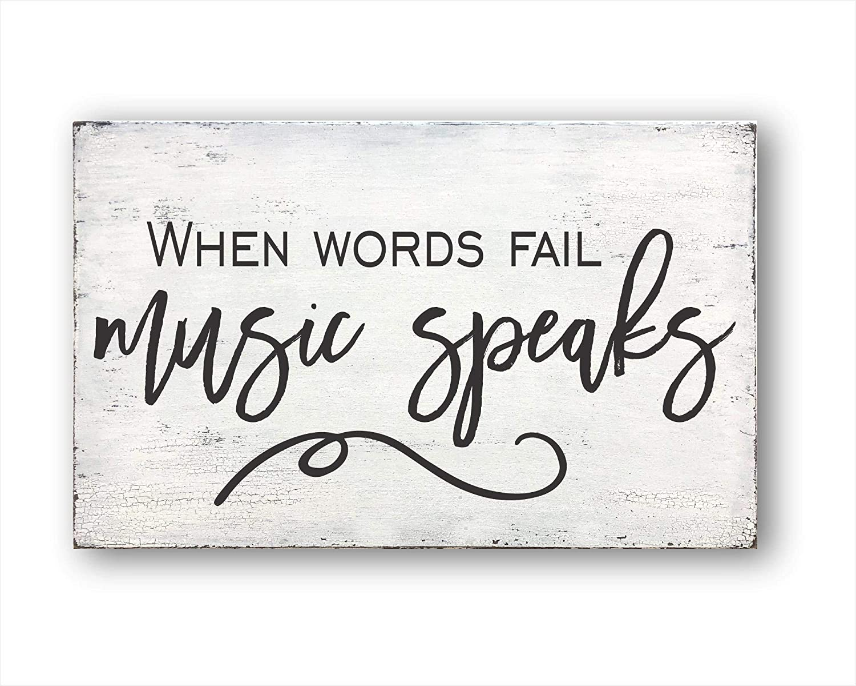 EricauBird Wall Art When Words Fail Music Speaks, Housewarming, Farmhouse Decor, Home Decor Wood Plaque
