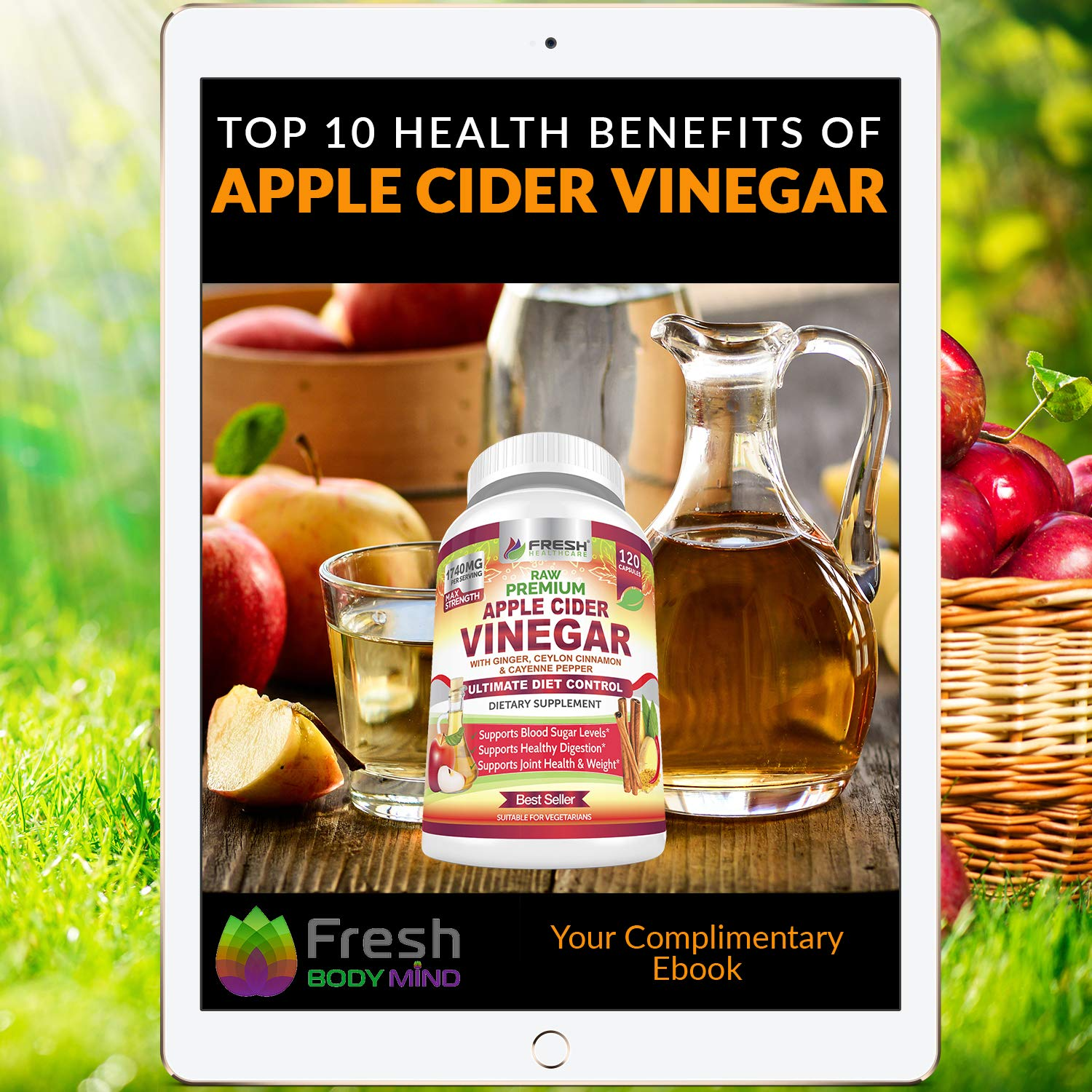 Organic Apple Cider Vinegar Pills Max 1740mg with Mother - 100% Natural & Raw with Ceylon Cinnamon, Ginger & Cayenne Pepper - Ideal for Healthy Blood Sugar, Detox & Digestion-120 Vegan Capsules by FRESH HEALTHCARE (Image #4)