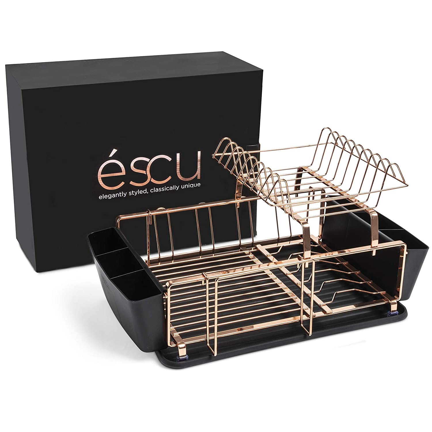éscu dish Drying Rack​ for ​Kitchen Countertops and Sink, Adjustable 2-Tier Design​ -​ Copper Dish Holder​ and Drainboard Set - Drainer Drying Racks​ with ​Baskets, Drip Tray ​for ​Plates, silverware