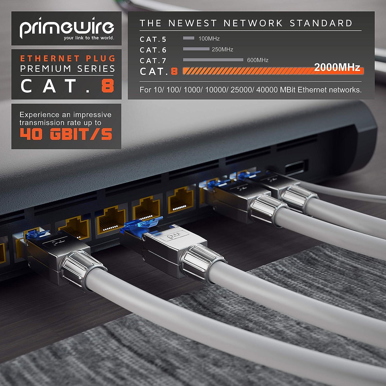 26 AWG LAN 40 GBit//s 20000 MHz Primewire 23 connecteur modulaire rj45 blind/é en Zinc TIA-568A B fiche rj45 sans Outil 4X connecteurs de sertissage sans Outils RJ45 Cat 6 Cat 7 Cat 8