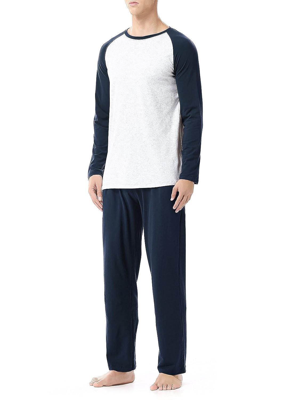 David Archy Men's Cotton Modal Sleepwear Long Sleeve Top and Bottom Pajama Set