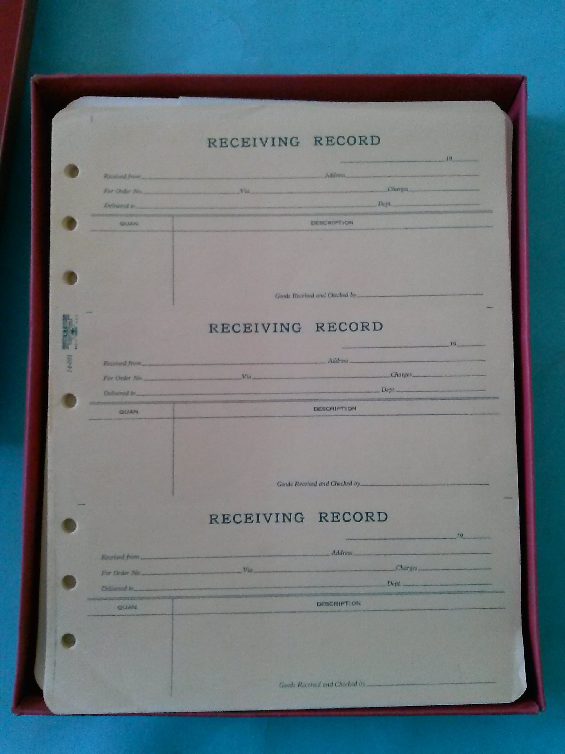 National 14-001 Receiving Record 11'' x 8 1/2'' Sold in Packages of 50 Sheets