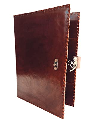 Handmade_world Vintage Handmade Leather Portfolio Resume pad folio Cover  File Folder Professional Business Organizer Notepad Holder