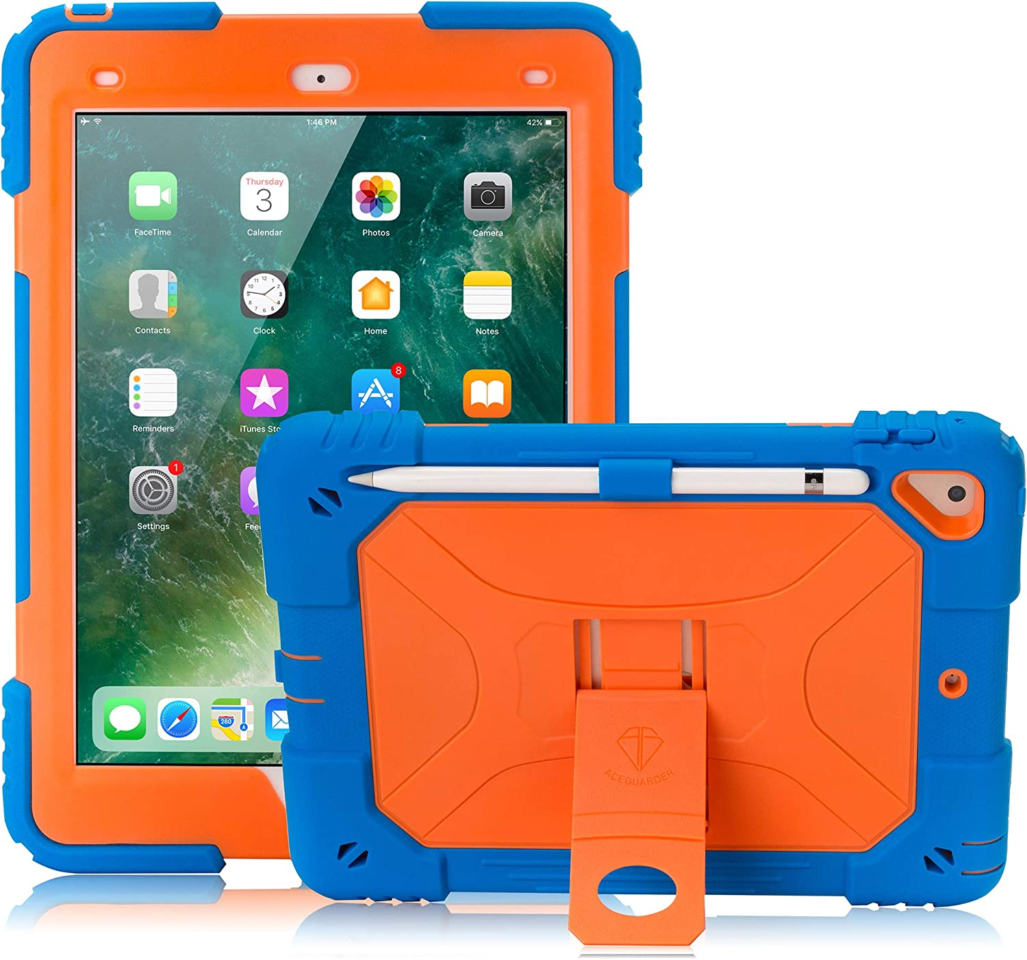 iPad 9.7 Case 2017/2018, iPad 6th/5th Generation Case iPad Air 2 Case for Kids Double-Layer Heavy Duty Cover with Apple Pencil Holder & Kickstand for iPad Pro 9.7 (Blue/Orange)