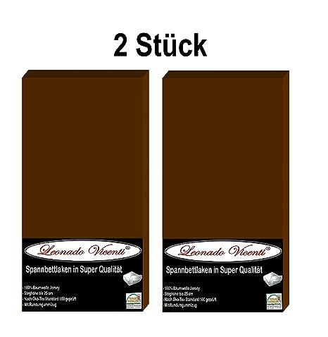 Leo combinado Vicenti Juego de 2 sábana bajera marrón 90 x 200 cm hasta 100 x