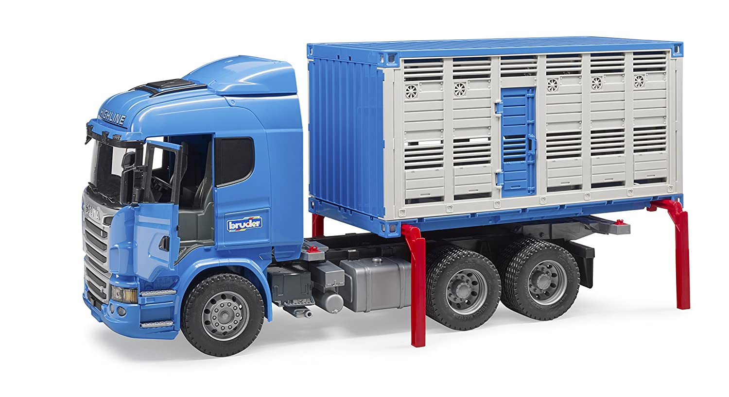 Toys Bruder Scania R-Series Cattle Transportation Truck with 1 Cattle Vehicles