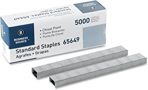 Business Source Chisel Point Standard Staples, 5000/Box (65649)