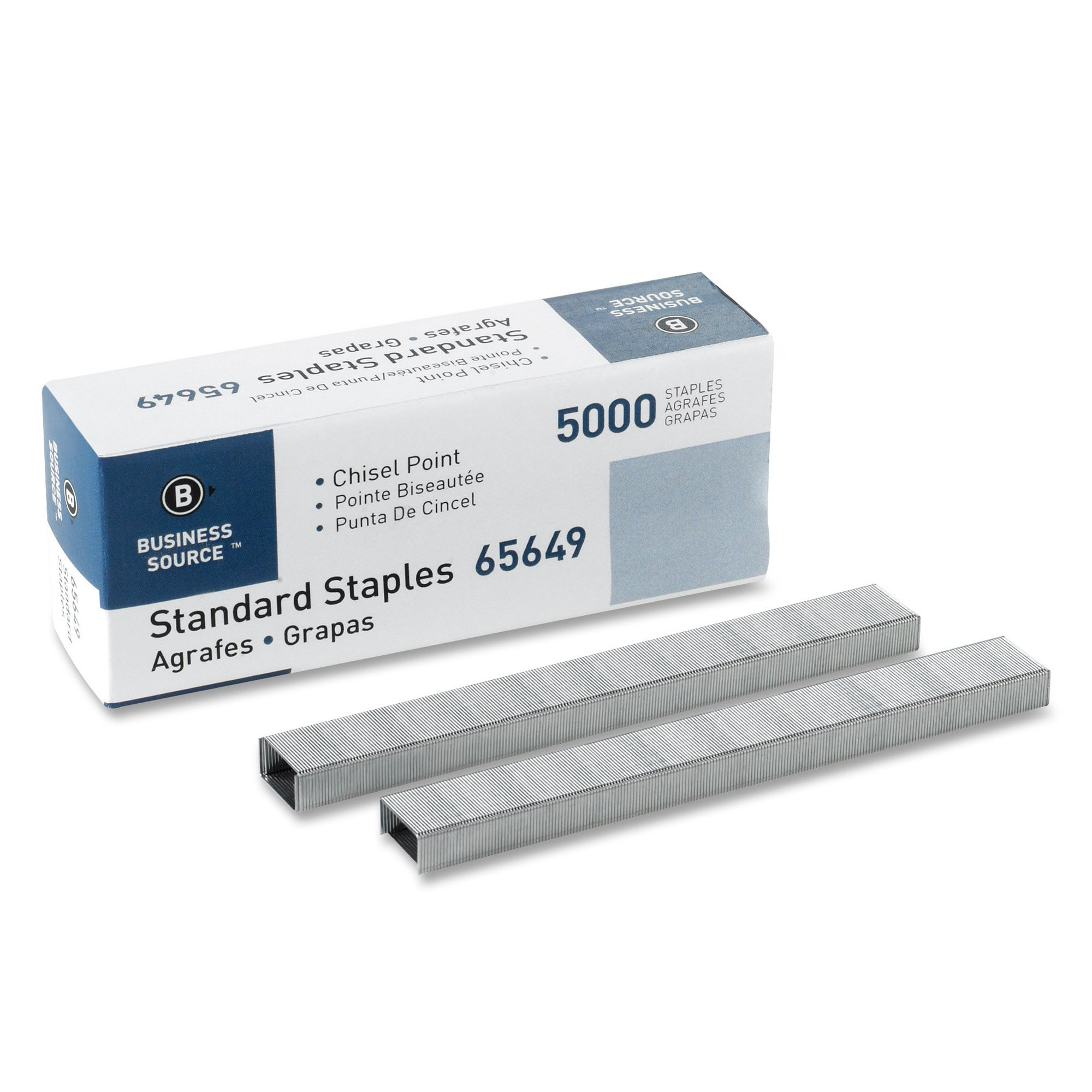 Business Source Chisel Point Standard Staples - Box of 5000 (65649)