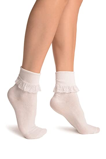 cf6ffe4edbf White With White Lace Trim Ankle High Socks - Socks at Amazon Women s  Clothing store