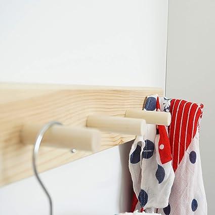 Minicamp 7 Peg Wooden Coat Hooks Wall Mounted Coat Rack 315 Inch Long Natural Wood Peg Rail