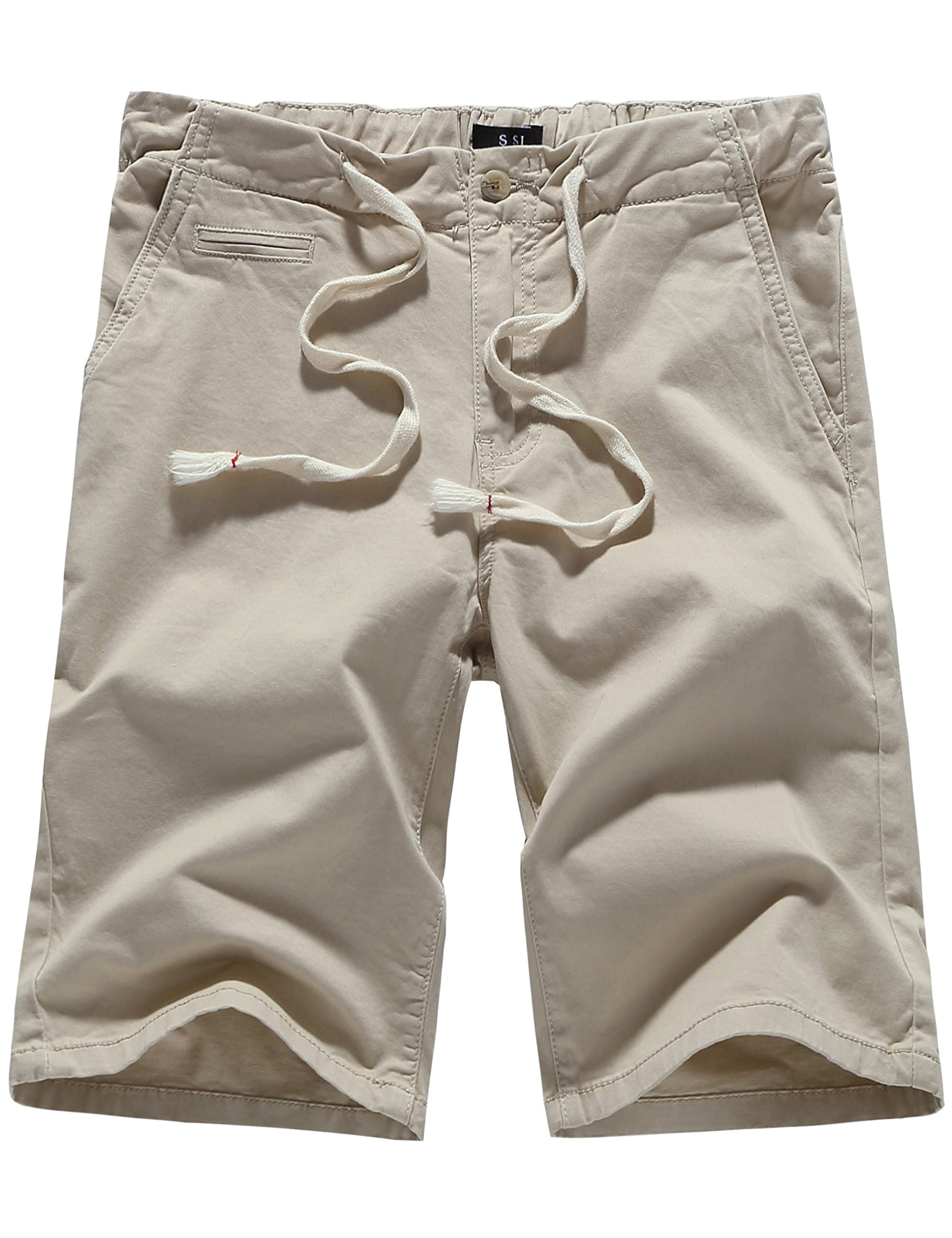 SSLR Men's Cotton Classic Fit Flat Front Casual Drawstring Shorts (36, Beige)