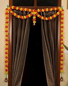 TIED RIBBONS Door Hanging Artificial Marigold Fluffy Flowers Garlands Bandanwar Toran (109 cm X 149 cm) - Diwali Decoration Item for Home Door Wall Décor