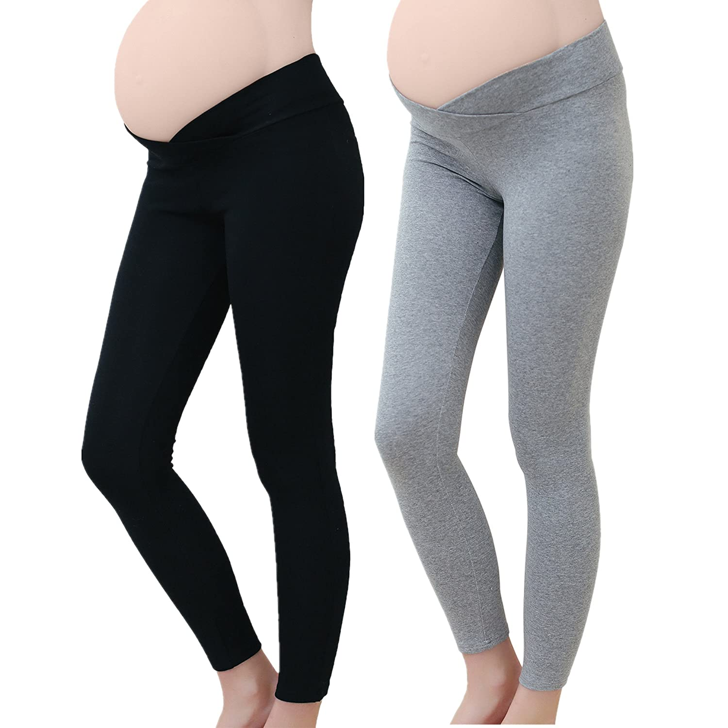 Tremour Maternity Seamless Ankle Length Maternity Pregnancy Under The Bump Legging K128