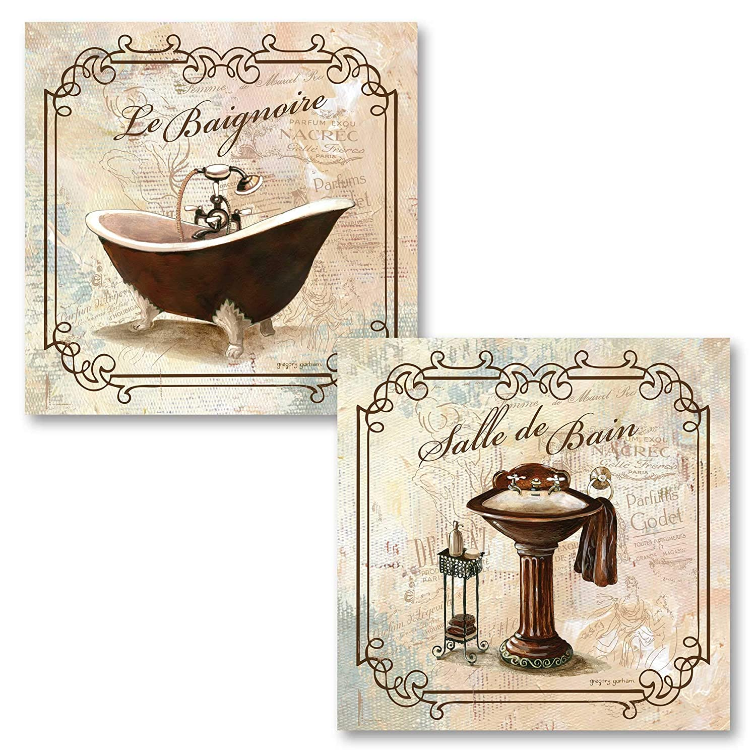 "Classic French Clawfoot Bathtub and Pedestal Sink Salle De Bain and Le Baignoire by Gregory Gorham- 2-12x12"" Unframed Paper Posters"