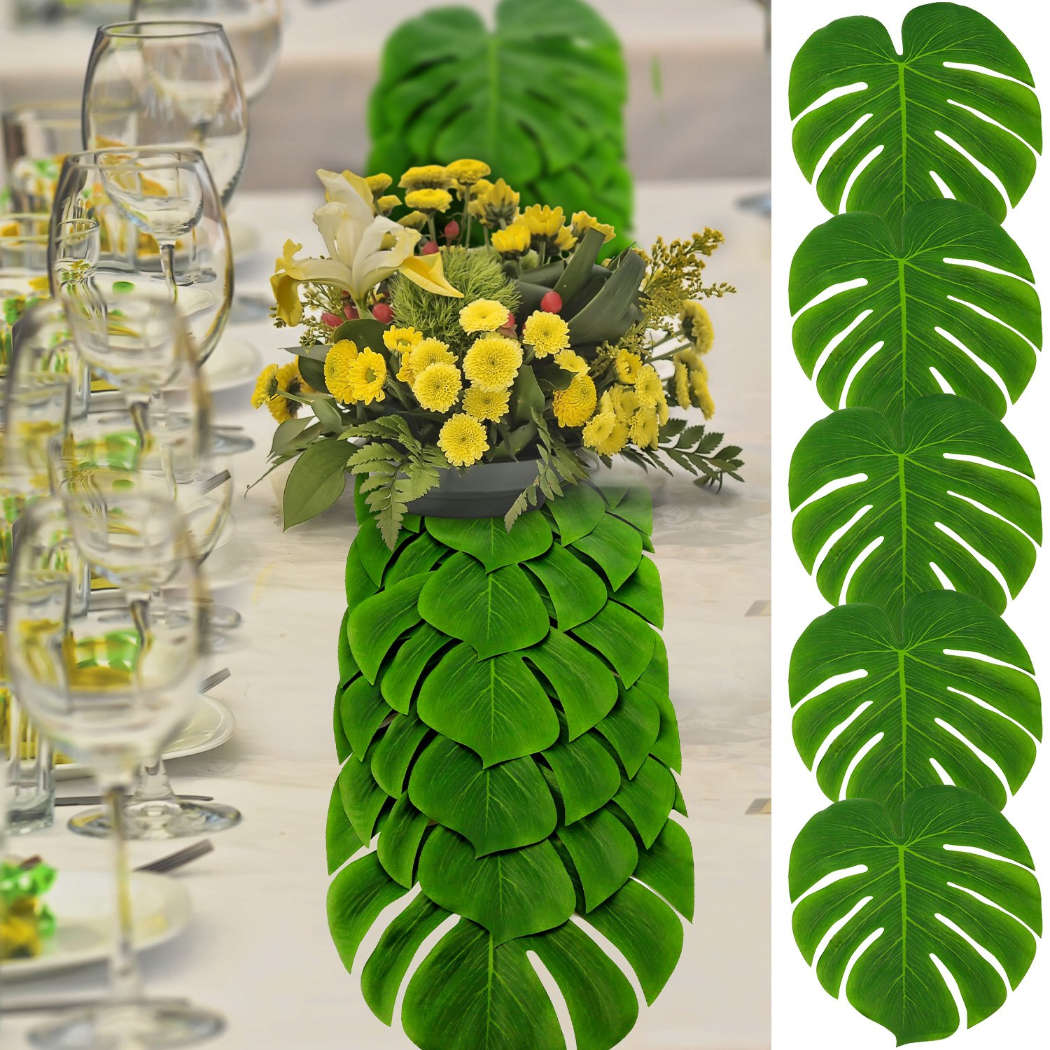 Shappy 50 Pieces Artificial Tropical Palm Leaves Large Size 13.8 by 11.4 Inch with 100 Pieces Double-Side Adhesive Points for Hawaiian Luau Party Jungle Beach Theme Table Runner