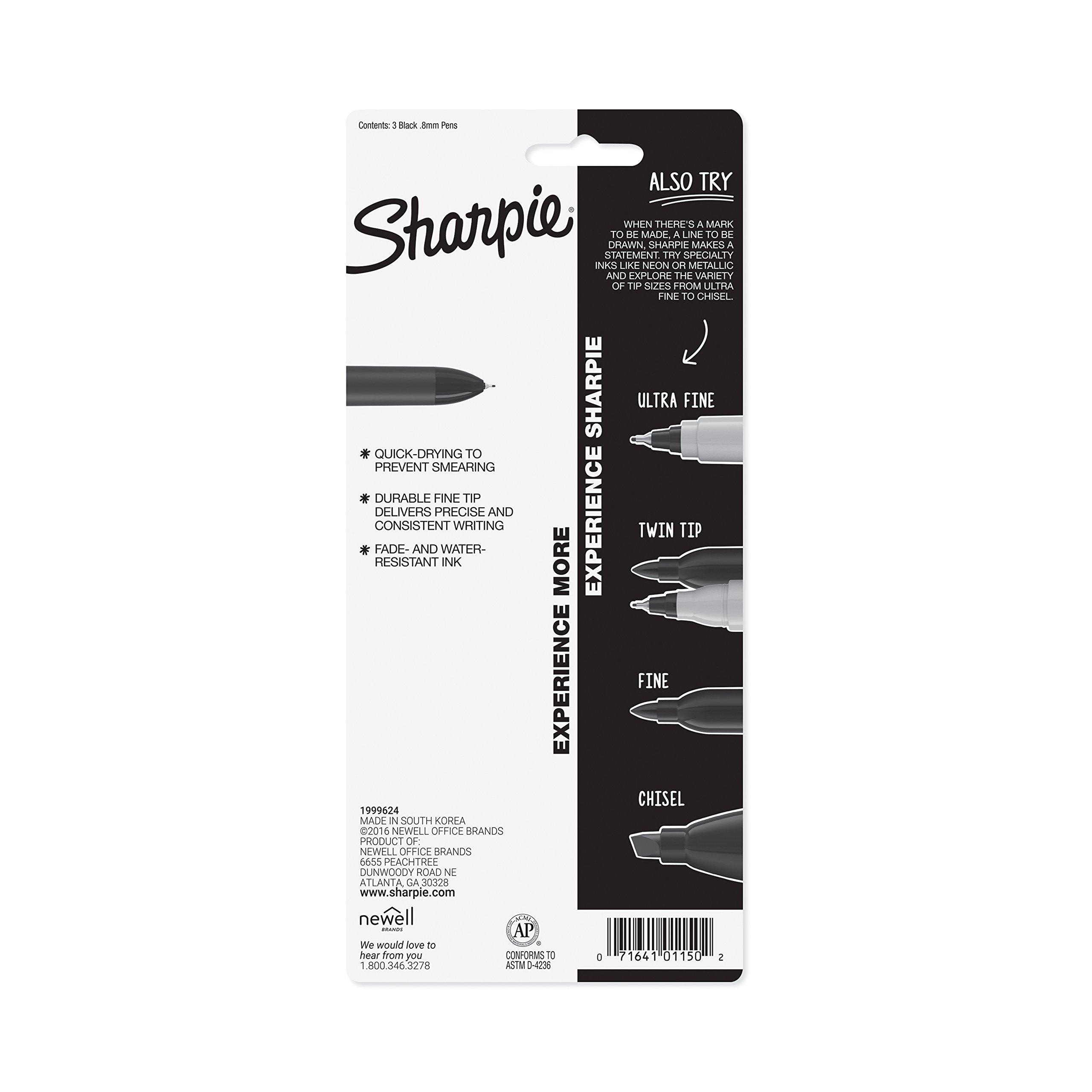 Sharpie 1753176 Retractable Pen, Fine Point, Black, 3-Count by Sharpie (Image #6)