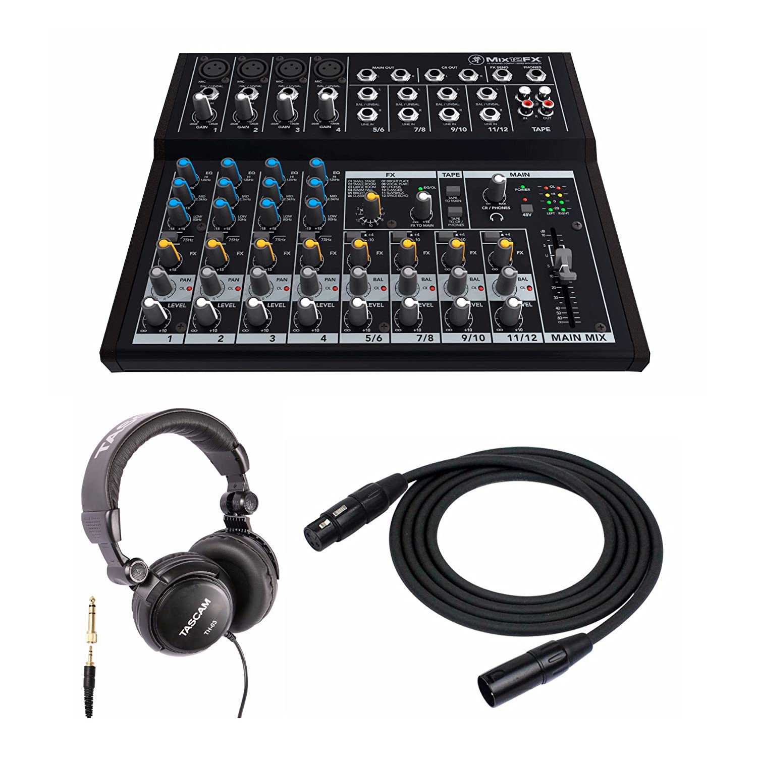 Mackie Mix12FX 12-channel Compact Effects Mixer Kit. Includes Stereo Headphones and XLR Cable