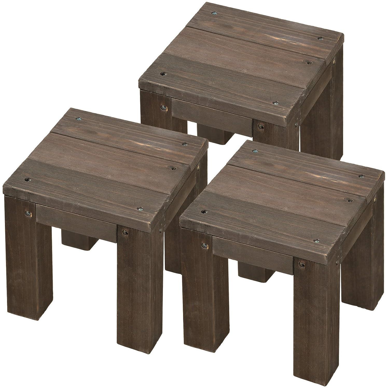 天然木製 キュービックフラワースタンド 20cm&30cmタイプ 各3台 大小6台セット ダークブラウン CFS-200-300DBR B012S865UK 20cm/30cmタイプ 各3台 大小6台セット